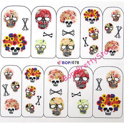 1 sheet Cool Skull Flower Water Decals Halloween Theme Transfer Sticker Nail Art Stickers Decoration #4904 - Blobimports.com