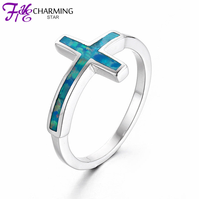 2016 New Arrival Handmade Jewelry Opal Ring 925 Sterling Silver Cross Ring For Women Rings Jewelry Sri191W
