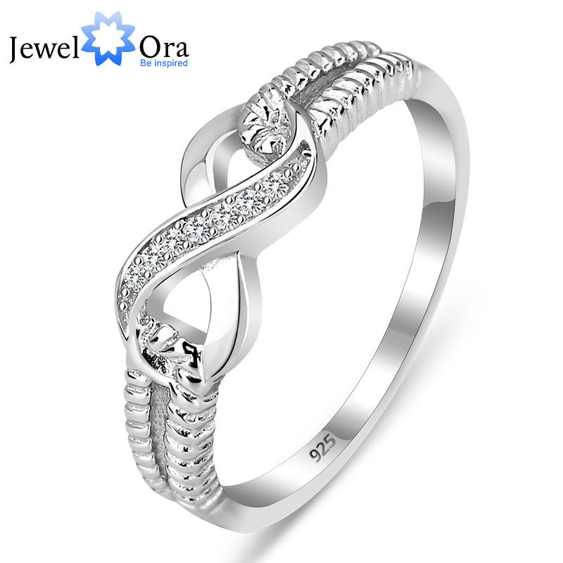 Genuine 925 Sterling Silver Jewelry Designer Brand Rings For Women Wedding Lady Infinity Ring Size (JewelOra RI101804)