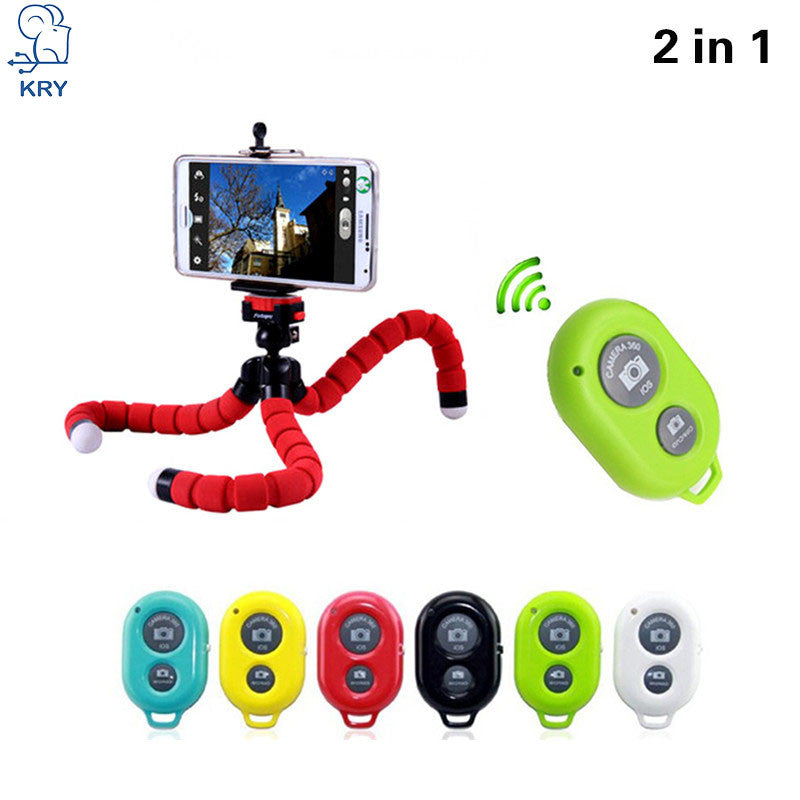 2in1 Car Phone Holder Wireless Bluetooth Remote Tripod Octopus Selfie Holder Stand Holder Mount for iPhone Xiaomi Lenovo HTC