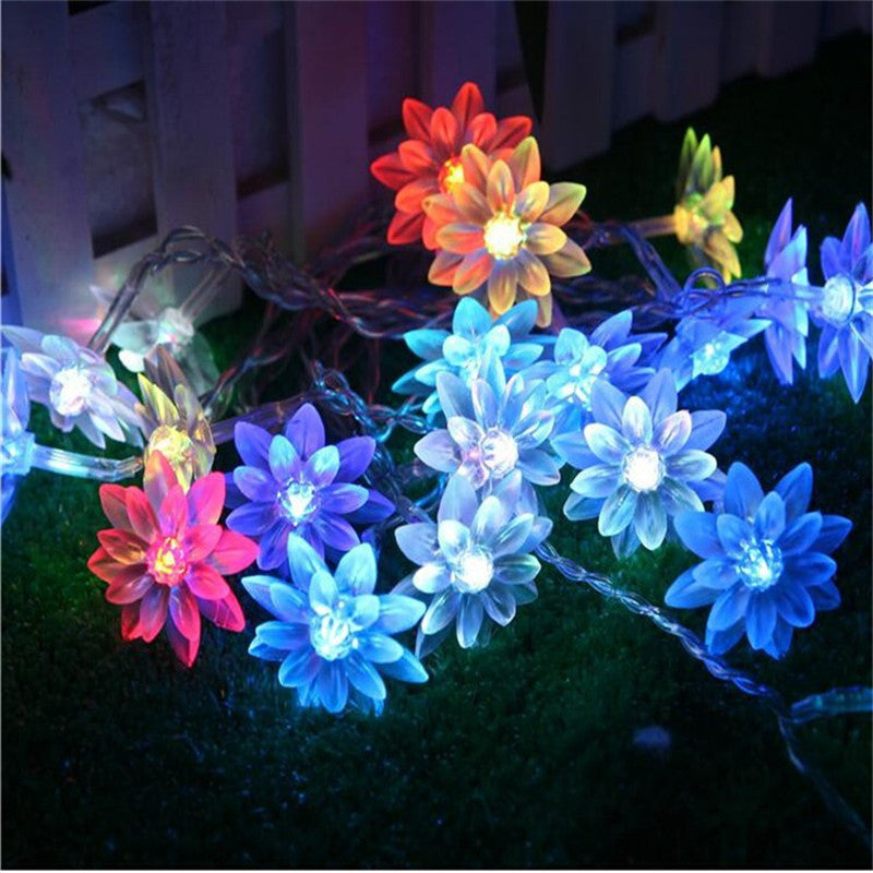 Fairy 3m 20 lotus flowers Led string garland light Christmas New year Wedding Holiday Party home luminaria decoration lamp