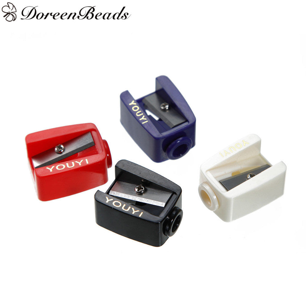 "Plastic Makeup Eyeliner Pencil Sharpener Rectangle color At Random 28mm(1 1/8"") x 21mm( 7/8""), 1 Piece"