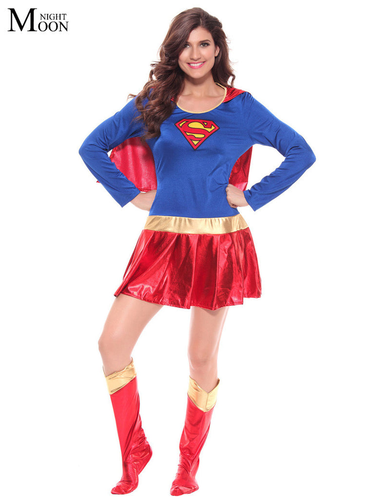 Woman Superhero Adult Costume Fancy Dress Outfit Halloween Super Girl Superwoman Costume For Halloween Costume