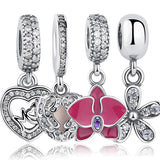 925 Sterling Silver Angel Wings Radiant Orchid Dazzling Daisy Pendant & Charm Fit Bracelet Heart Jewelry Accessories