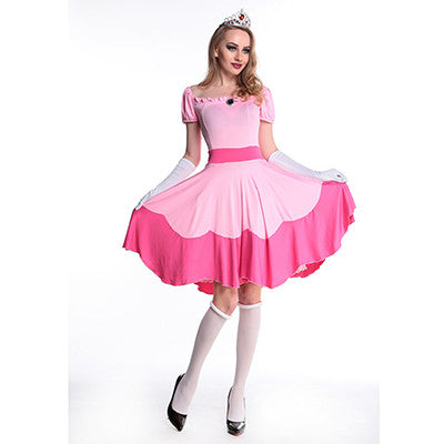New Fanshion Halloween Costumes for Women Pink Adult Costume Cosplay Princess Dress Fairy Tale One-Piece Dress