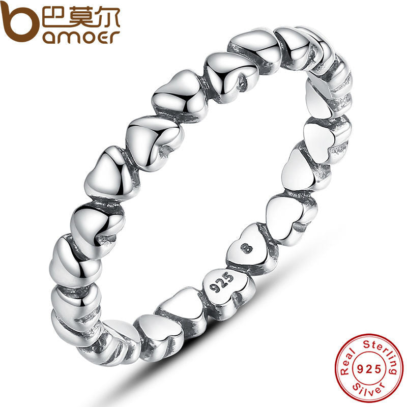 Authentic 925 100% Solid Sterling Silver Forever Love Heart Finger Ring Original Compatible With Pan Jewelry PA7108