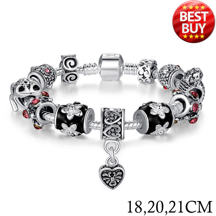 2016 Russia Belarus Popular 925 Silver Heart Charm Fit Pan Bracelet & Bangle With Glass Beads Jewelry PA1034