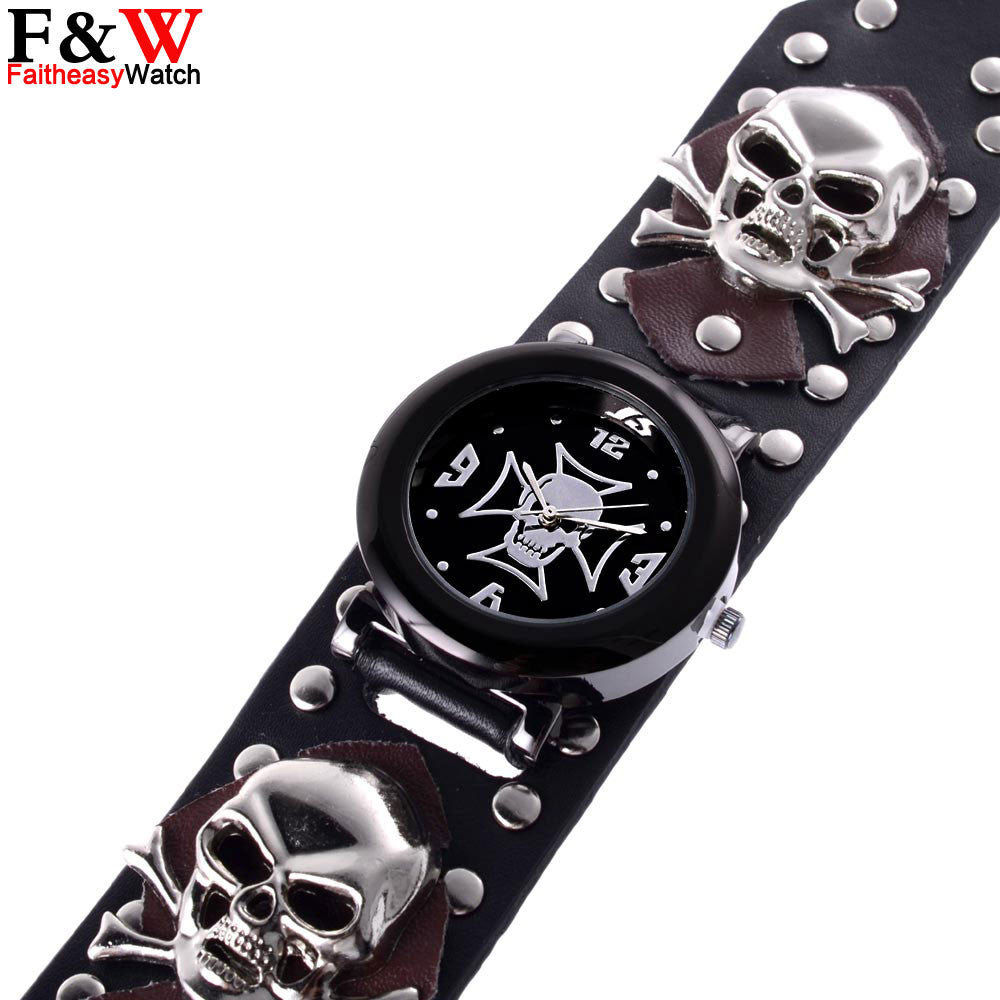 2016 New Fashion Skull Skeleton Black Leather Band Punk Men Wrist Watch Relogio Masculino  For Halloween Gift DA008