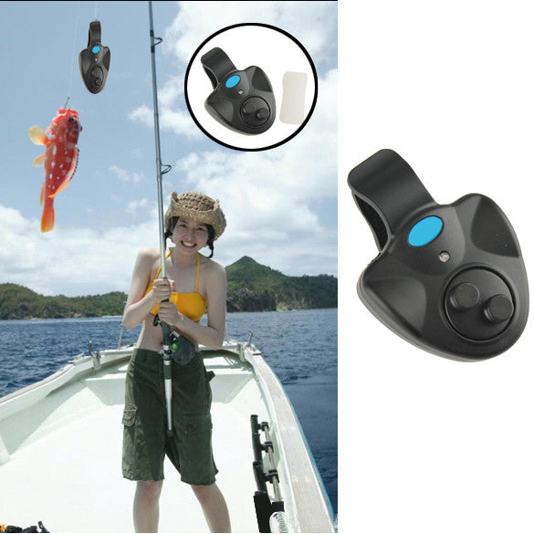 Electronic Fish Bite Finder Alarm LED Light Bell Clip On Fishing Rod Black B2C Shop