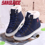 SANGLAIDE New 2016 fashion fur female warm ankle boots flat snow boots and autumn winter women Denim shoes Blue Casual 40 size