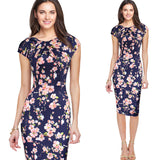 Fashion Designer Women Dress Elegant Floral Print Work Business Casual Party Pencil Sheath Vestidos 004