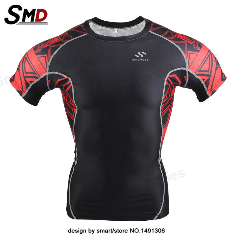 New Compression MMA T-Shirts Mens Short Sleeves Weight Liftng Fitness Base Layer Bodybuilding Tights  Shirts Clothing
