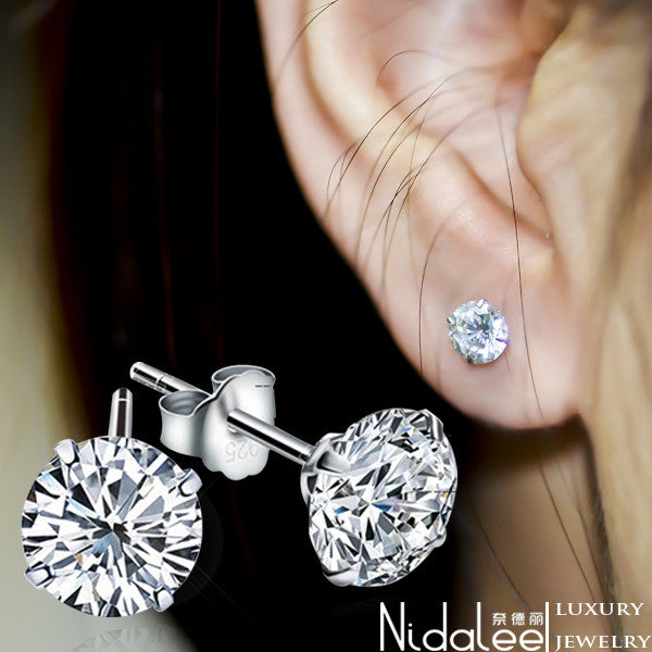2016 New White Crystal Zircon Real 925 Sterling Silver Earrings Channel Brinco Stud Earrings For Women Fashion Jewelry Hot Sale