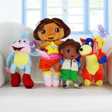 4pcs/lot Dora The Explorer Dora+Monkey Boots+Bull Benny+Fox Swiper Dolls Stuffed Toys Stuffed Plush Animals