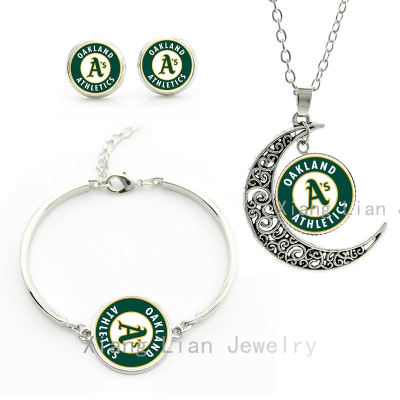Trendy lively green case for Oakland Athletics baseball sports team choker necklace earrings bracelet wedding jewelry sets M79