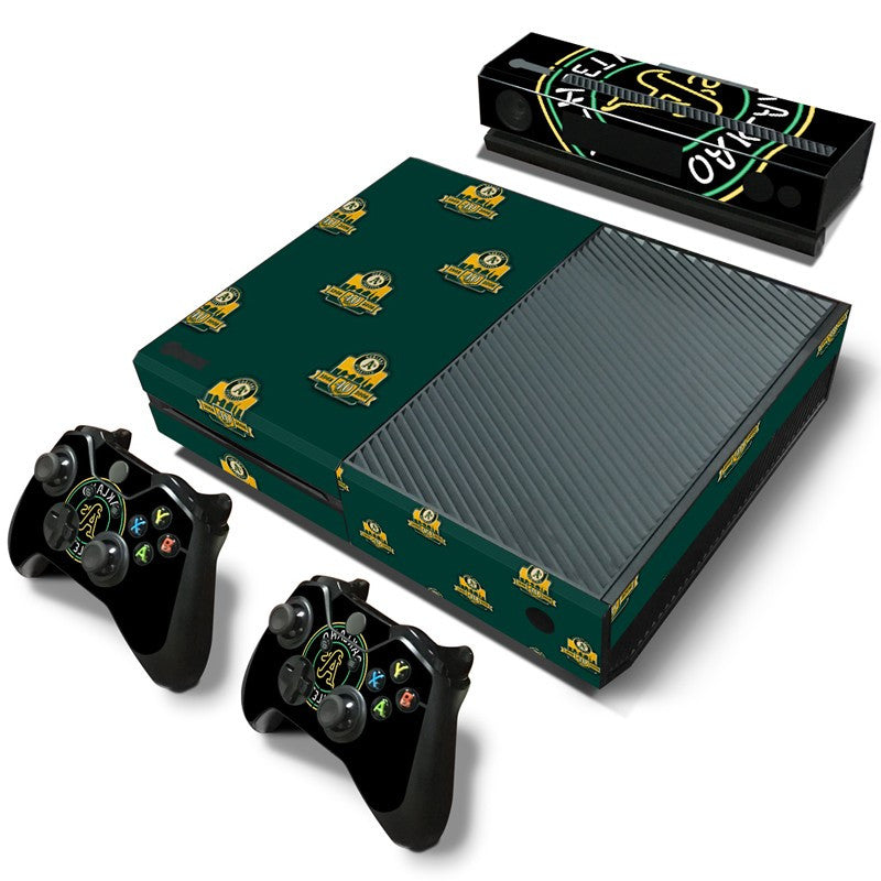 New Design For MLB Oakland Athletics vinyl Skin Sticker for Xbox one Console +2Pcs Controller +Kinect Sticker