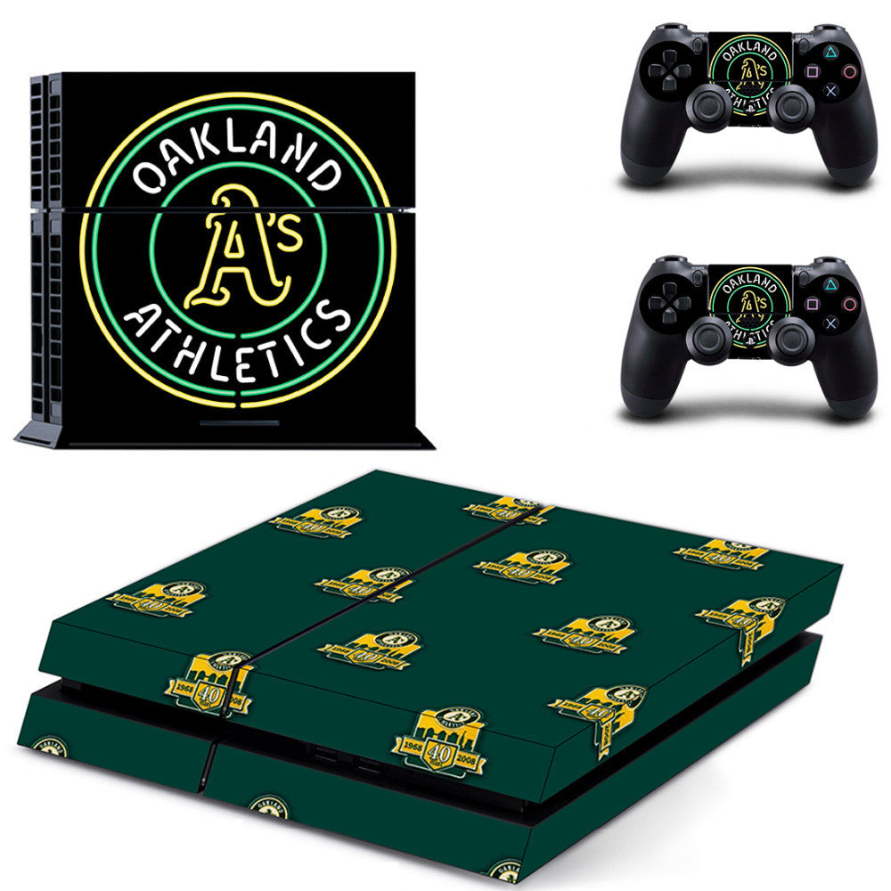 New Design PS4 Skin Sticker for MLB Oakland Athletics Stickers for Sony Playstation 4 Console anc Controllers