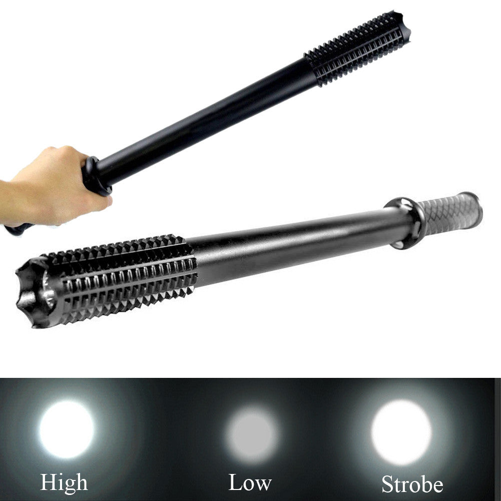 Hot 2000 Lumens CREE Q5 LED Spiked Mace Baseball Bat Flashlight Self-defense Torch Lamp 3 Mode For 1x18650 3xAAA