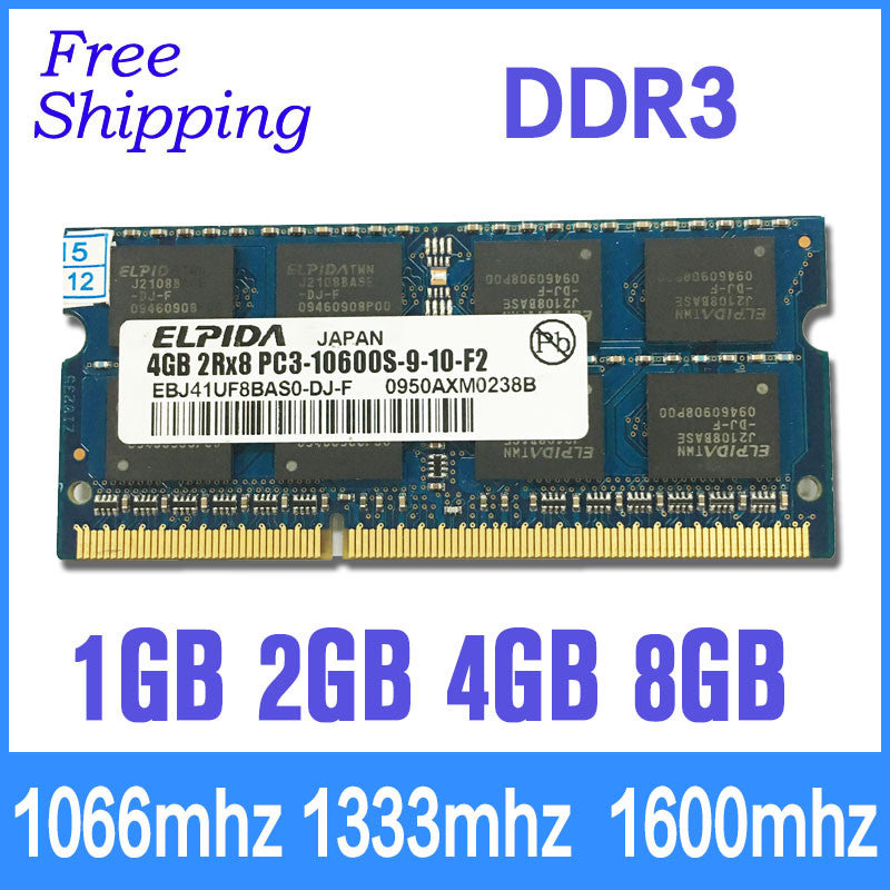 Elpida new brand orignal DDR3 memory ram 1GB/2GB/4GB/8GB memoria ram  1066/1333/1600mhz PC3-8500/10600/12800 for laptop sdram