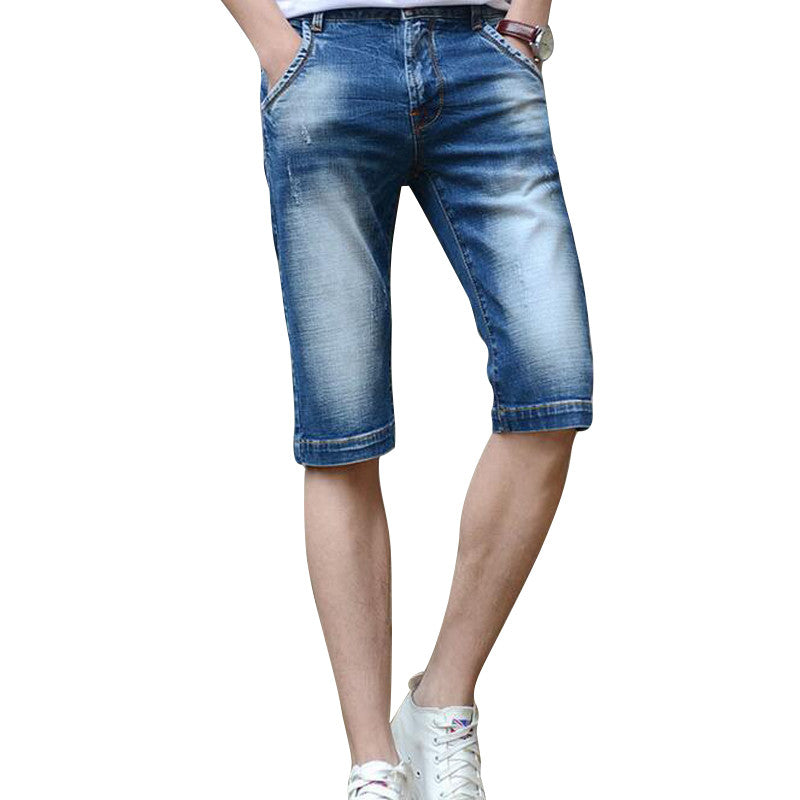 2016 New Arrival Men's Summer Short Jeans Casual Men's Light Blue Denim Shorts Lightweight Straight Jeans For Male MKN647