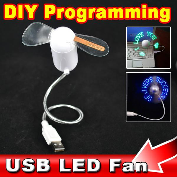 2016 Hot USB Gadgets Mini DIY Programmable Fan Flexible LED Blade Red Light Any Text Editing Reprogramme Character Advertising