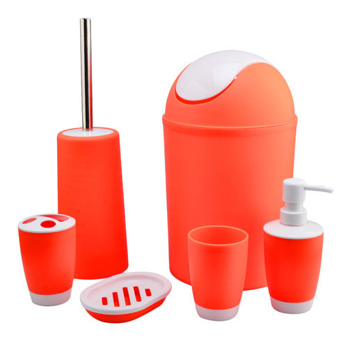 2016 Hot 6Pcs/set European Style Bathroom Accessory Set Soap Dish Dispenser Tumbler Toilet Brush Holder Banheiro Gadgets