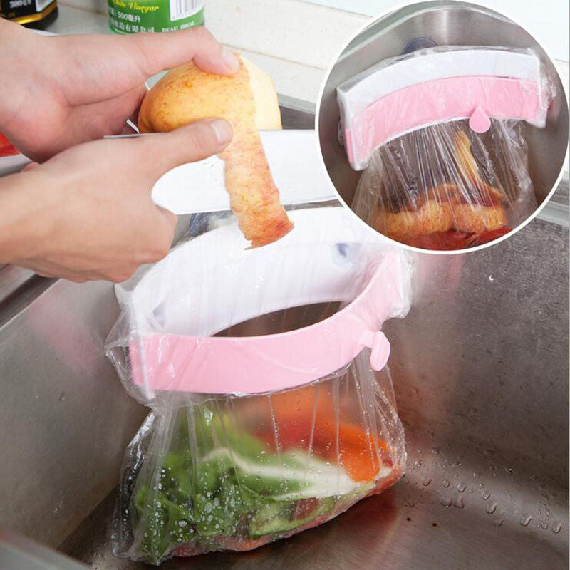 2016 HOT New Strong Sucker Garbage Bag Holder,Useful Kitchen Gadgets Creative Kitchen Sink Clip-on Trash Storage Rack XHH05421