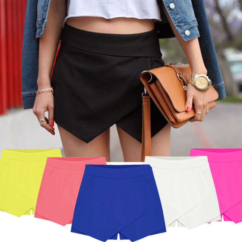 Womens Wrap Mini Skorts Asymmetric Tiered Neon Culottes Shorts Short HOT shorts