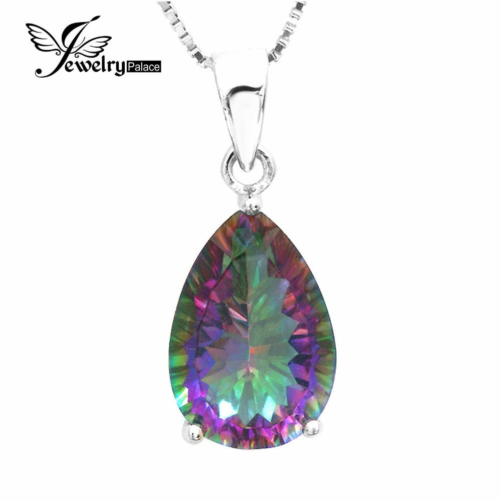 JewelryPalace 4ct Rainbow Fire Mystic Topaz Pendant Genuine 925 Sterling Silver Pendant Pear Concave Cut Brand Vintage Jewelry