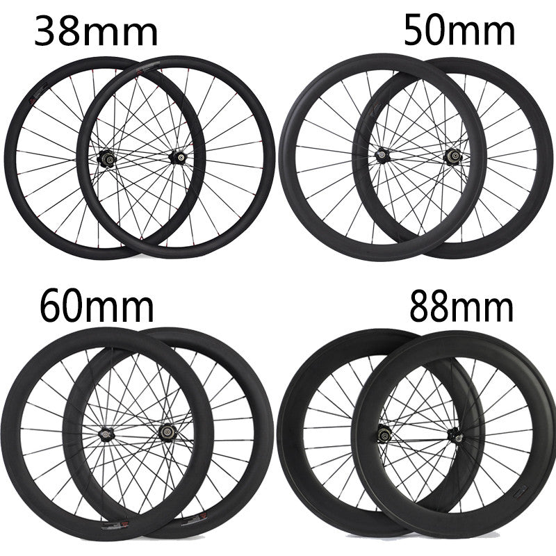 24mm 38mm 50mm 60mm 88mm Carbon Clincher Tubular Road Bike Bicycle Wheels Super Light Carbon Wheels Racing Wheelset