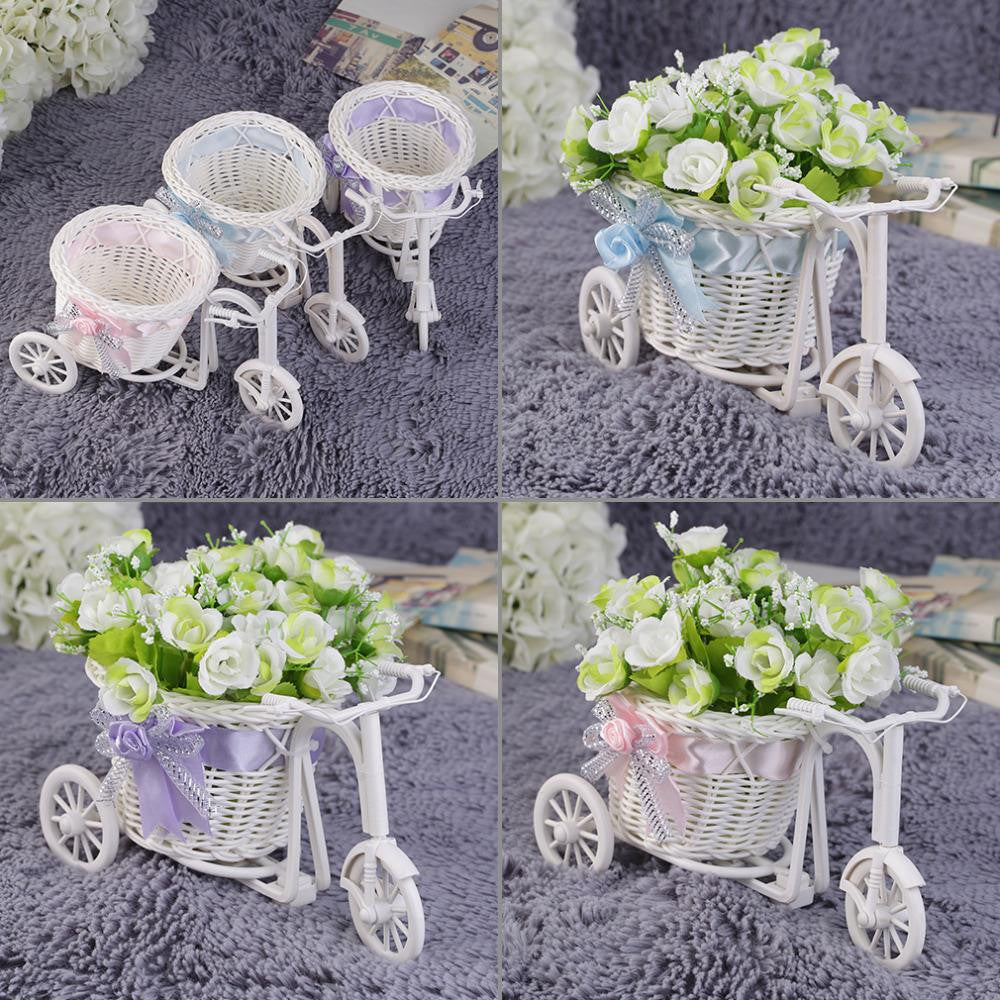 2016 Rattan Tricycle Bike Flower Basket Vase Storage Garden Wedding Party Decoration Office Bedroom Holding Candy Gift hot