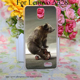 Tricycle Bear Style Transparent Hard Case Cover for Lenovo S850 S850T S60 S90 A563 A328 A328T