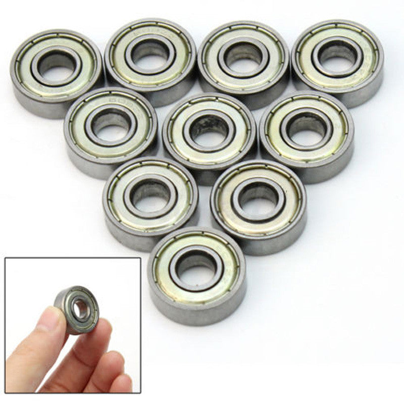 10 X Metal  8*22*7mm  Deep Groove Sealed Shielded Ball Bearing Miniature Skateboard Scooter Roller Wheels VEJ19 P0.3