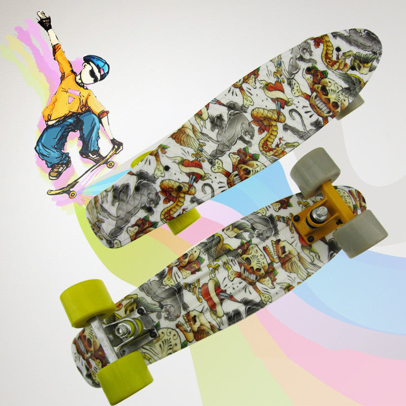 "Free Shipping Skull Graffiti Printed 22""Complete Skateboard Plastic Skate Board for Boy Girl Outdoor Activities waveboard CL43"
