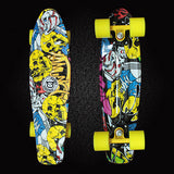 "Free Shipping Printed 22"" Lightweight Complete Skateboard Durable Plastic Skate Board for Boy Girl Outdoor Activities PN10"