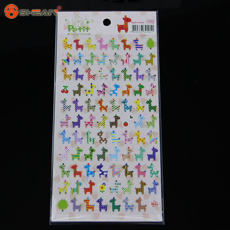 1Pcs Giraffe Owl Print Memo sticker Cute Drawing Market Diary Transparent Scrapbooking Calendar Album Decor Sticker