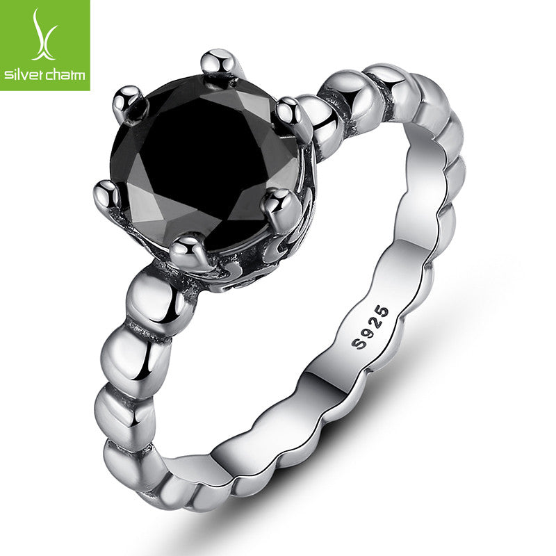 925 sterling Silver Rings Black Crystal Compatible With European Fit Original Pandora Wedding Brand Ring Jewelry Christmas Gift