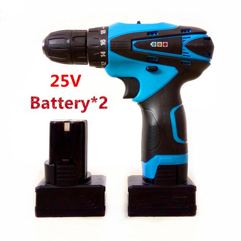 25V Multifunction Lithium Battery*2 Torque Mobile Power Supply Electric Drill bit cordless Screwdriver hand wrench  power Tools
