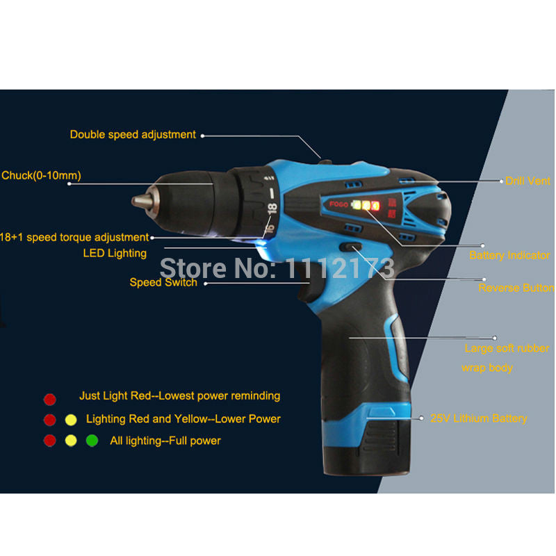 Brand 25V Cordless electric drill bit with 2pcs rechargeable Lithium Battery electric screwdriver power tool + 27pcs accessories