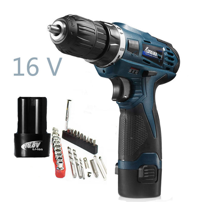16V  Multi-function Screwdriver Power Tools Lithium Battery Rechargeable Electric Drill  Waterproof household electric tool