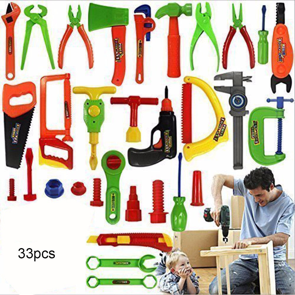 33Pcs Maintenance Tool Toys Pretend Play House Simulation Repair Kit Power Workshop Engineer Tool Toy Toolbox Chainsaw Boys Gift