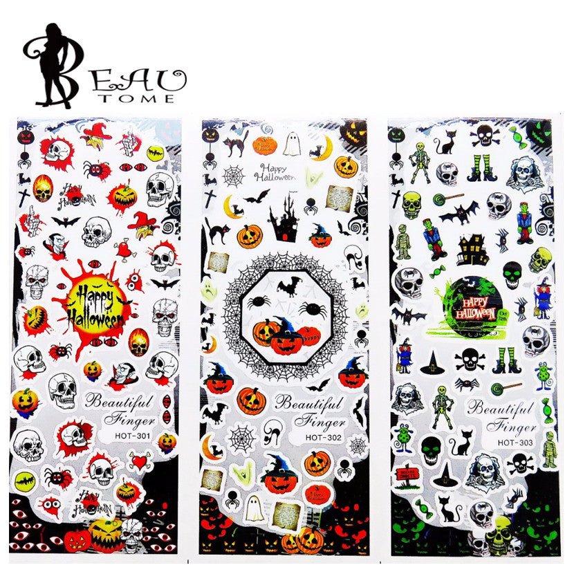 Beautome  3 in 1 Mixed Watermark Halloween Nail Art Tips Sticker Full Wraps Water Transfer Stickers Decals For Nails HOT301-303