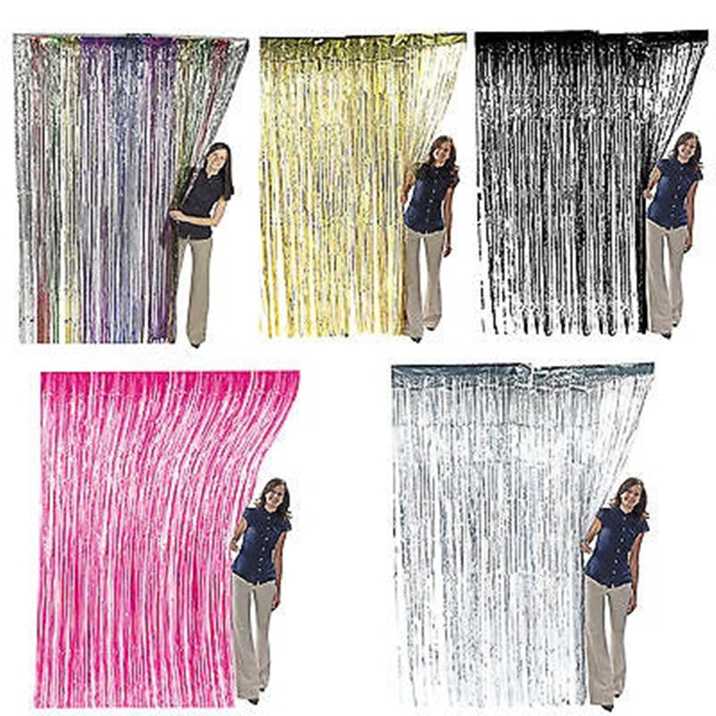 39''*78'' Gold /Red/Blue/Silver/Purplle Tinsel Shimmer Foil Door Curtain Birthday Halloween Party Decoration