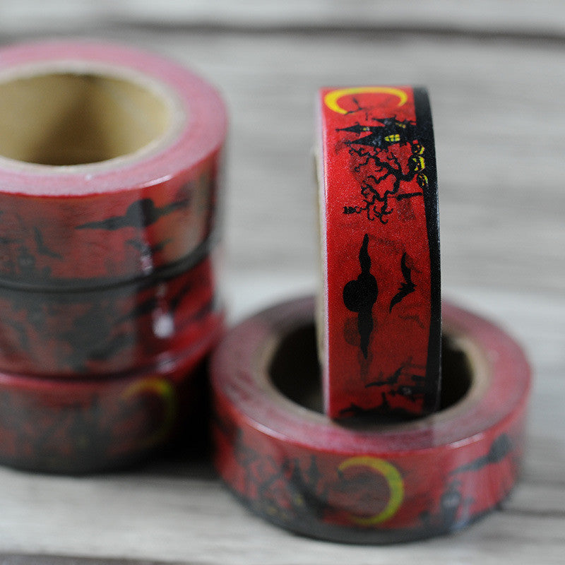 free shipping 15mm*10m red background fittermouse halloween  diy masking washi  tape