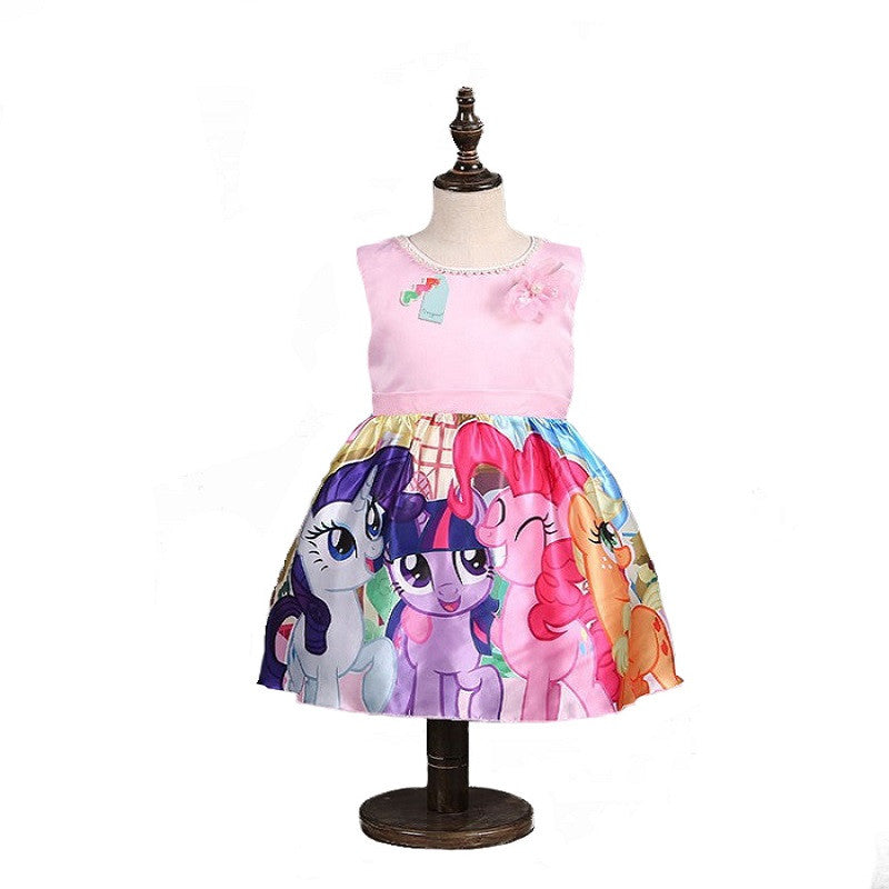 Girl Dress Summer Brand Toddler Girls Clothes Lace Sequins Princess my pony Dress Snow Queen Halloween Party Role-play Costume