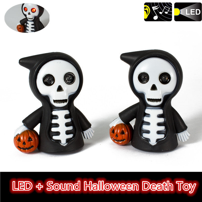 J227 Super Funny! Red LED Halloween Pumpkin Death Skull Action Figure Toys With Sound Keychains Kids Gift Wholesale