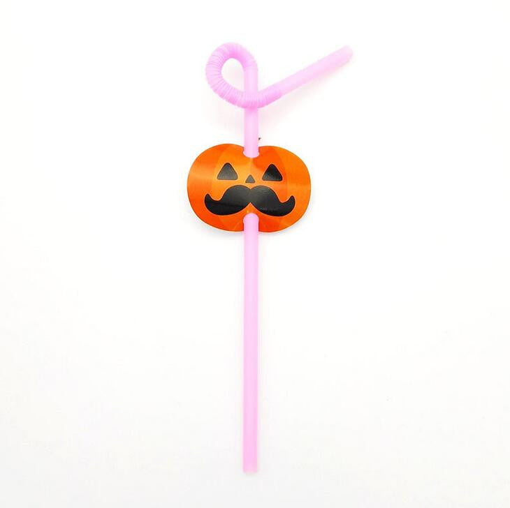 Cheap 20pcs Halloween theme pumpkin/ghost/bat Plastic  Straw with flags kids Drinking straws / cake toppers party decoration