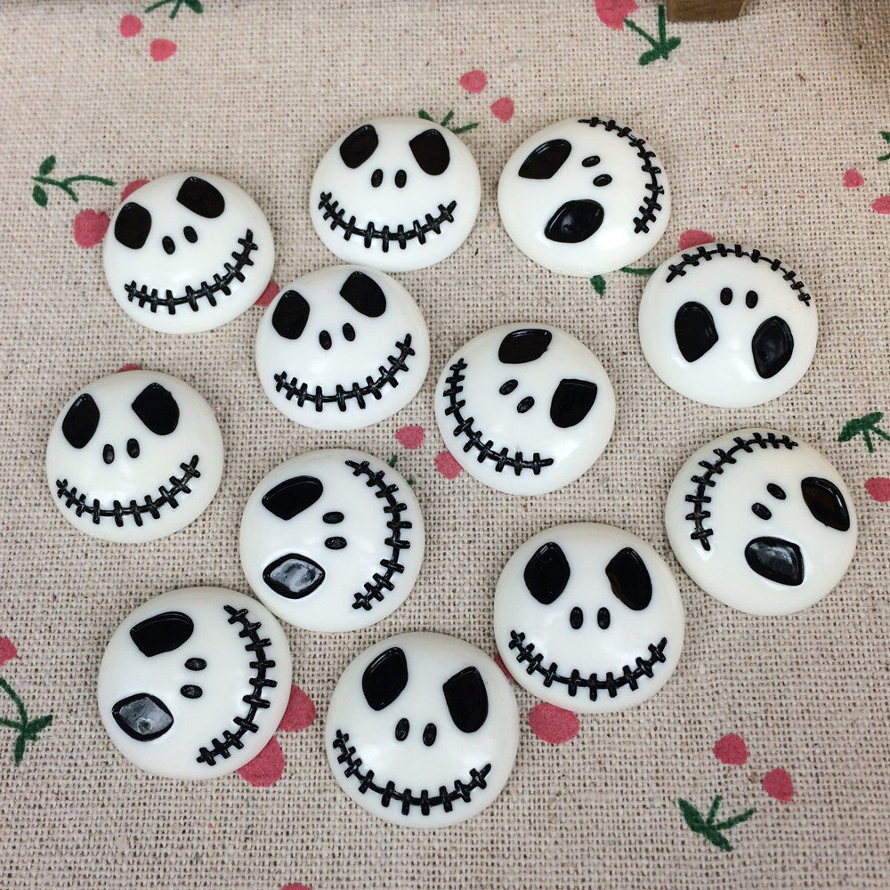 10Pieces Flat Back Resin Cabochon Skeleton For Halloween DIY Flatback Embellishment Accessories Scrapbooking Crafts:25mm