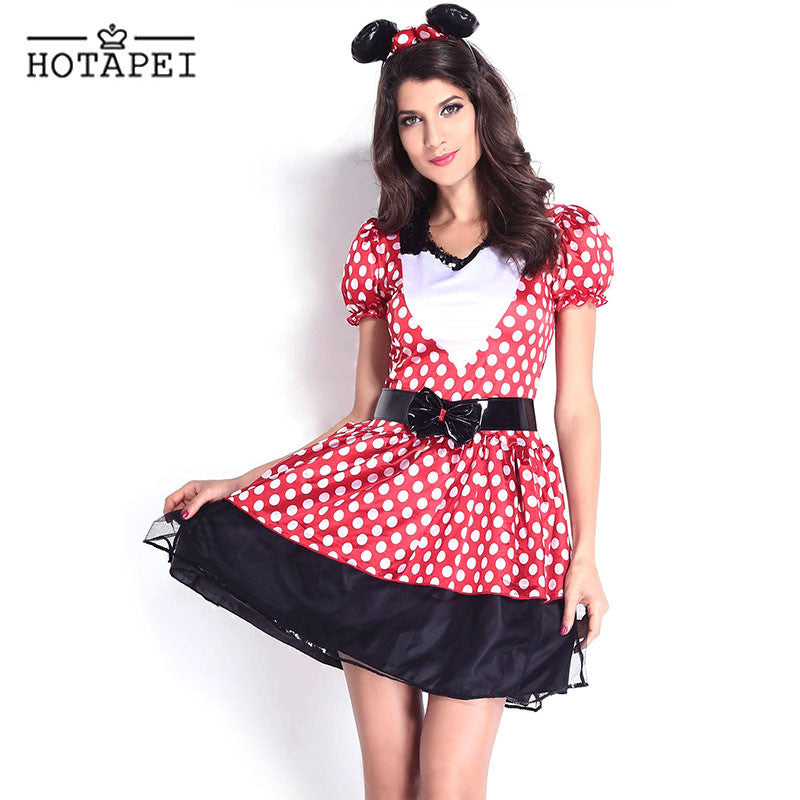 Hotapei Sexy Miss Kitty Costume Halloween Cosplay Adult Minnie Mouse Costume Red and White Dots Minnie Mouse Halloween Costume