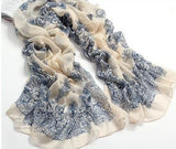 High quality Blue and White Porcelain Style Thin Section the Silk Floss Women Scarf Shawl